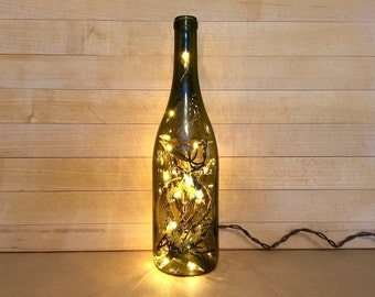 Lust, Wine Bottle Light, Gold Decor, Pinot Noir Bottle, 2013 Wine, Finger Lake Wine, Recycled Wine Bottle, Rustic Wine Bottle, New York Wine
