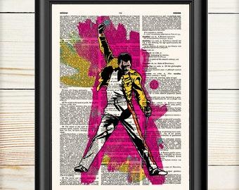 Freddie Mercury, Queen Music Print, Dictionary Print, Music Print, 031