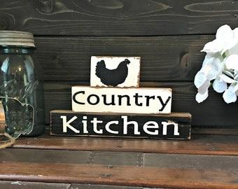 Country Kitchen Stackable Blocks - Kitchen blocks - Rustic Decor - Primitive Decor - Handmade blocks - Hand Painted - Chicken Decor