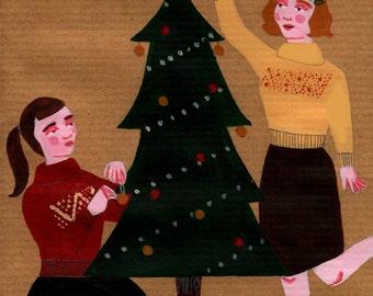 Christmas Girls, Painted Illustration on C6 Envelope