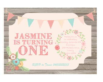 Birthday Invitation Girl One, Printable Download, Pink, Floral, Wood Panel background DESIGN 024