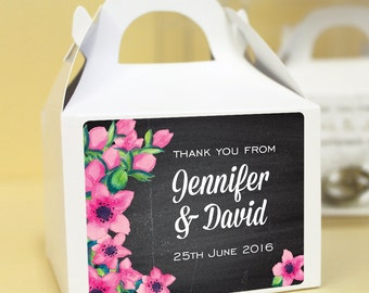 Personalised Wedding Favours / Cup Cake Boxes - Floral Chalkboard