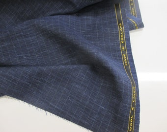 """Blue With Green Checked """"Super Lightweight Wool & Linen"""" English Suiting Fabric."""