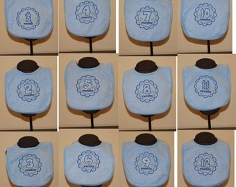 Set of 12 Baby Bibs for Boys in Blue