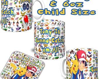 Pokemon Pikachu Theme Personalised Sublimation Printed Mug Coaster Your Name & Text 2 Mugs Sizes.