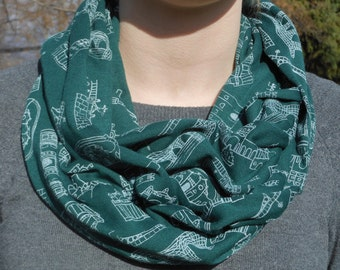Seville Architecture Infinity Scarf, Screen Printed (Green)
