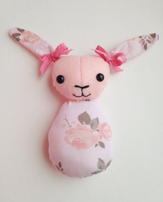 7 Tall Plush Pink Felt Bunny Toy With Floral By MuffinBubDolls