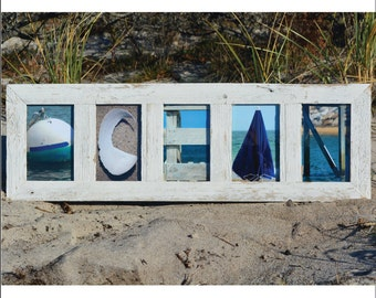 OCEAN  (Barn Wood White Frame) Coastal Alphabet Letter Photography
