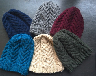 Staghorn Cable Knitted Winter Hat.     adult knit hat mens winter hat men's knitted hat handknit washable