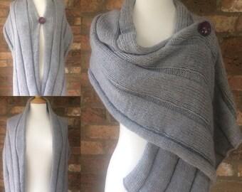 Hand Knitted Grey Shawl/Wrap