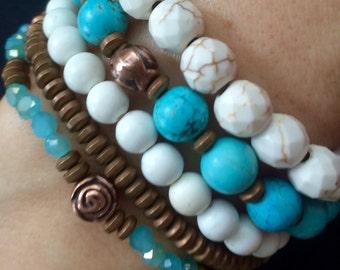 Mala jasper bracelet,raw Turquoise Bracelet,turquoise bracelet,Yoga Bracelet,Boho Bracelet,stone bracelet,bohemian bracelet,white