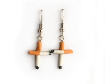 Holy trinity cigarette cross earrings; handmade polymer clay