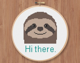 Hi There Sloth Cross Stitch Pattern
