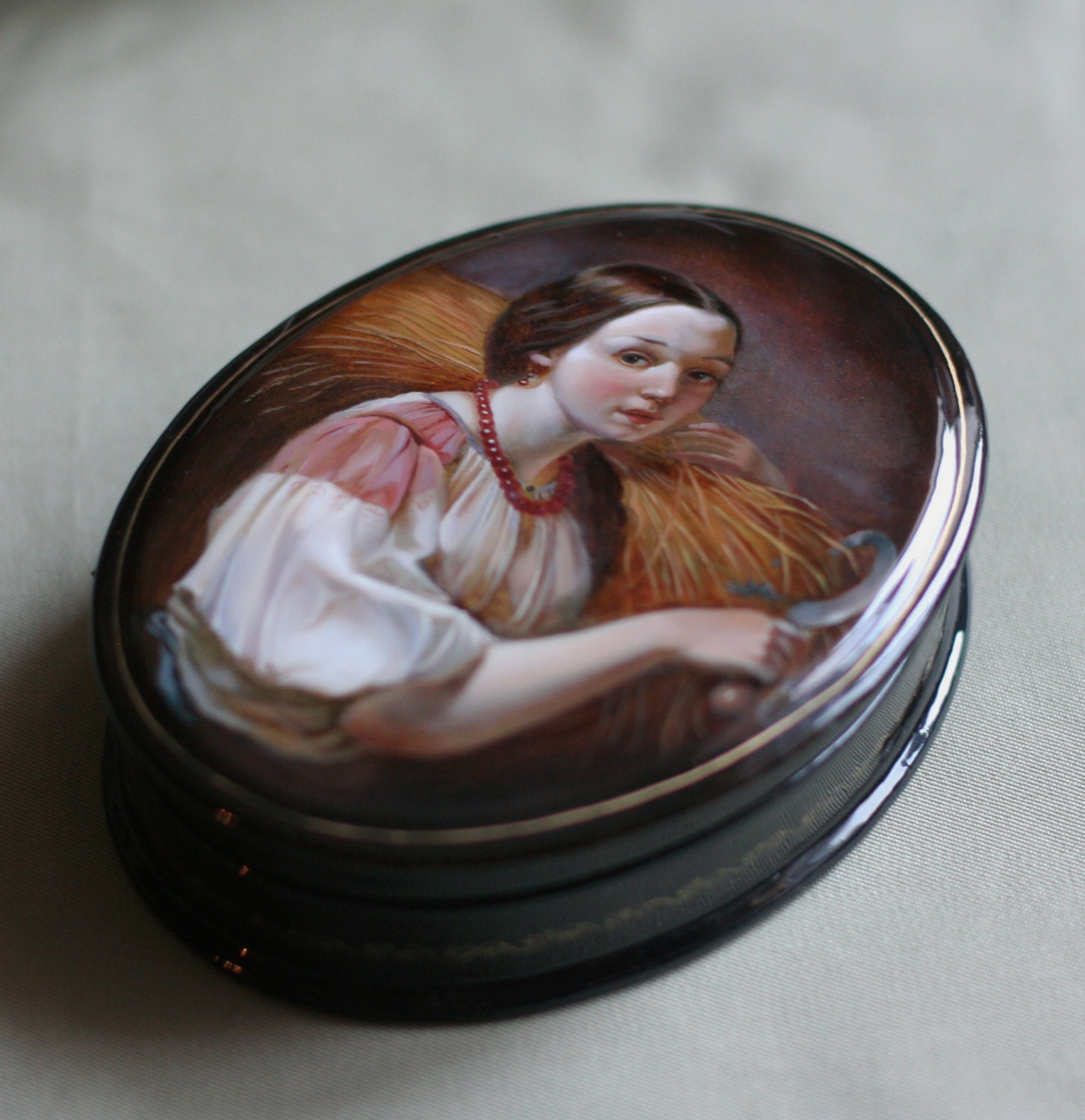 From List Of Names In Colo A Mini Portrait Of Lives: Russian Lacquer Box Antique Collectible Box Russian Art