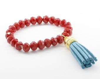 Cherry Red Chinese Crystal Stretch Bracelet with Turquoise Suede Tassel