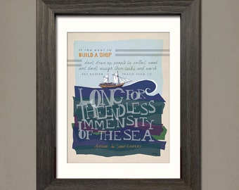 If You Want to Build a Ship:  Whimsical, vintage, typography print of Antoine de Saint-Exupery  by Inklings of an Artist