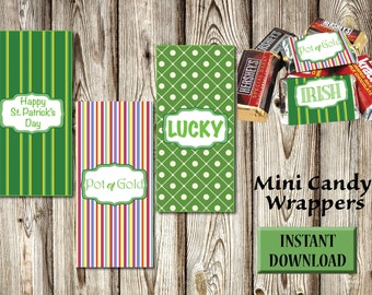 St Patricks, Mini Candy Wrappers, Chocolate, Instant Download, DIY-Party Favors, Candy Buffet, Green, Rainbow