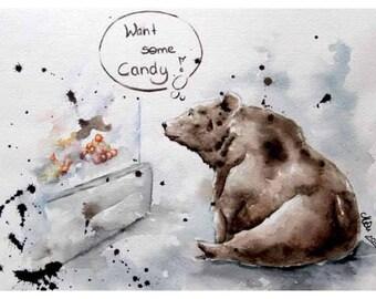Candy bear - digital printing - A6