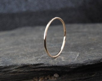 14k Gold filled ring, thin ring, hammered, 1mm ring, made at your size. Skinny ring, thin ring, stacking ring.