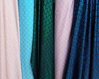 """Mermaid Fabric Hologram Fish Scales Stretch Spandex (58"""") Sold By Yard(Dotted)"""