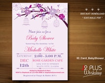 INSTANT DOWNLOAD Baby Shower Invitation Printable, Bird Cage Baby Shower Invitation Instant Download, Purple Party Invites, DIY Editable pdf