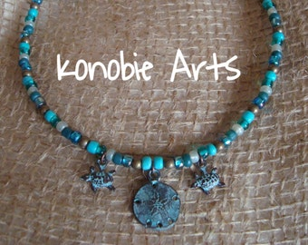 Sand Dollar Sea Turtle Charmed Beaded Necklace