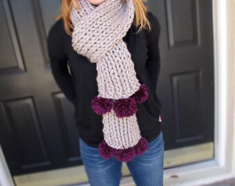 Taupe chunky knit scarf with pom poms