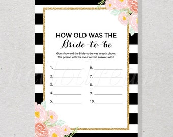 30% OFF How Old Was The Bride-to-be, Printable Spade Inspired Floral Chic Bridal Shower Game - SKUHDG12