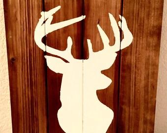 Rustic Deer Antler Silhouette Wood Wall Decor