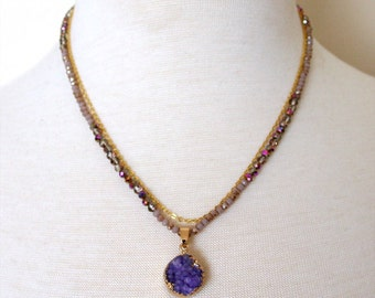 One Row Chain and One Row Roundells Beads with Purple Round Druzy Pendant Necklace