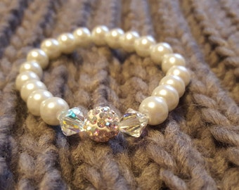 White Glass Pearl Bracelet featuring Swarovski crystals and Shamballa