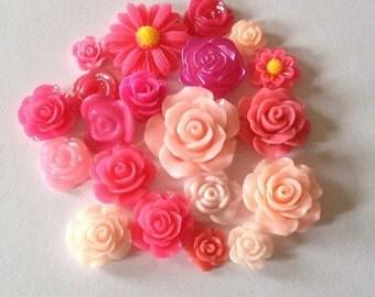 20 flatbacks flowers random mixed pink card making scrap booking resin embellishments