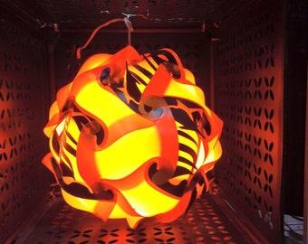 Zebra Print Orange and Yellow Puzzle Lamp