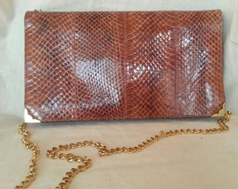 Snake Python Bag /Vintage 70's Genuine Leather Clutch Pochette Bag / Rare Bag/  Made in Italy