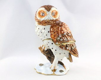 OWL jewelry casket pills box jewelry box collectible decoration Strass