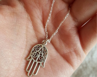 Hand of Fatima Sterling Silver Necklace - Free Shipping