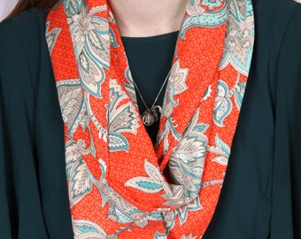 Red and Gray Patterned Infinity Scarf