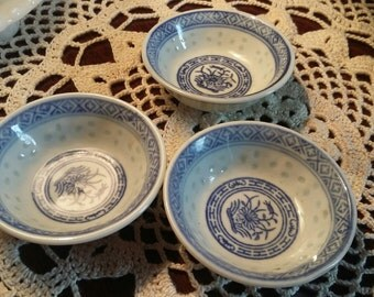 Set of 3 Antique rice grain butter pats Rice Grain pattern made in China