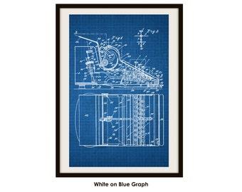 Typewriter Patent Poster Print (Not Framed)