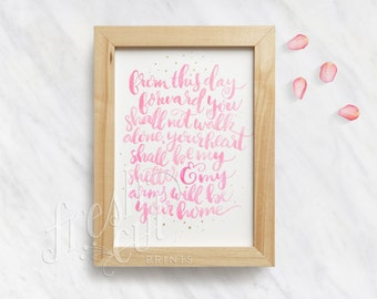 Gift for Her - Inspirational Watercolor Love Quote - Fine Art Print Wedding Gift