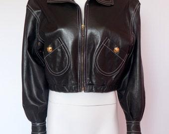 Escada by Margaretha Ley vintage leather jacket gold studs brads in black