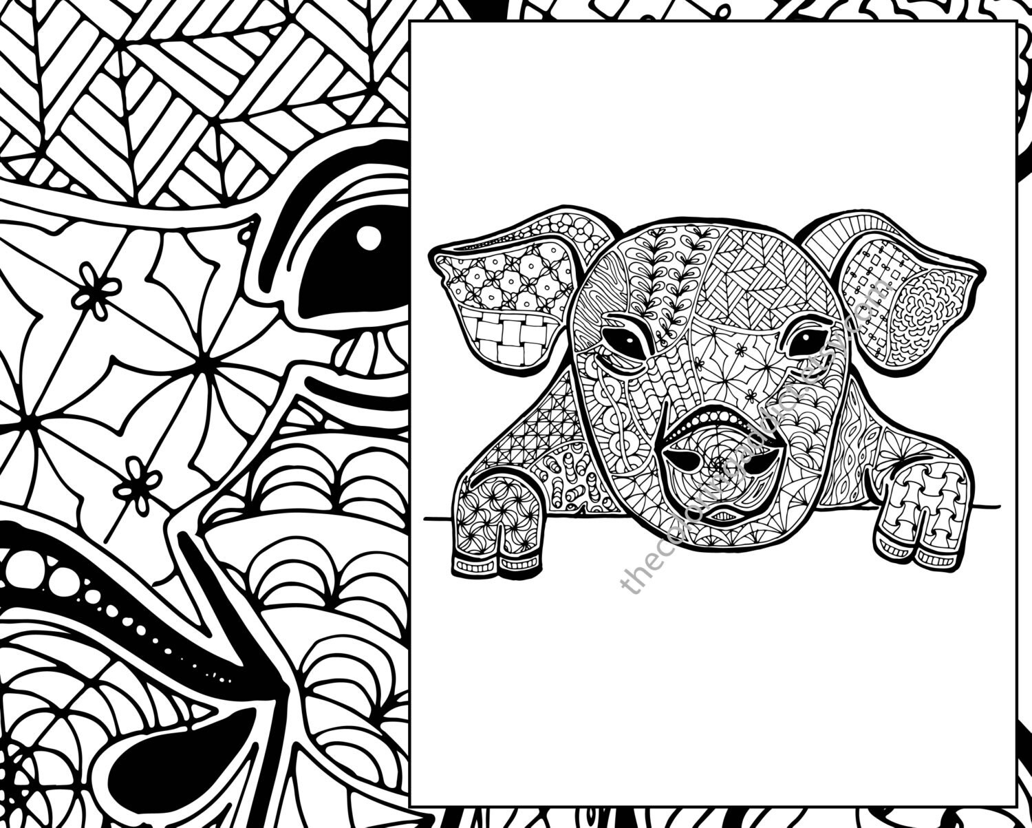 Zentangle African Animals Sketch Coloring Page