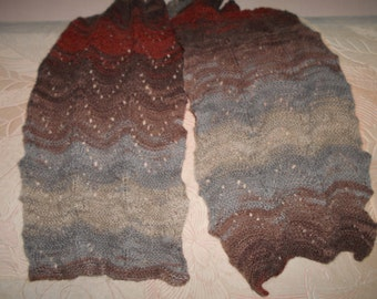 Knitted scarf a soft, wool,mohair,acryl, lace, hand knitted scarf