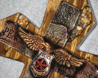 "POLICEMEN CROSS, 9"" x 14"", Police officers cross, handmade cross, wooden cross,"