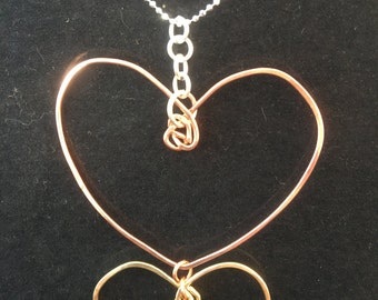 Double Heart in Brass & Copper with Pure Silver Hooks and Sterling Chain