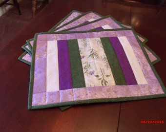 Hello Spring Flowering Herbs Placemats and Matching Hot Pads, Birthday Gift, Housewarming Gift