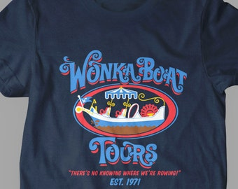 New Wonka Boat Tours Chocolate Factory Funny Logo Fine Cotton Jersey Mens and Ladies Unisex Adult Sizes
