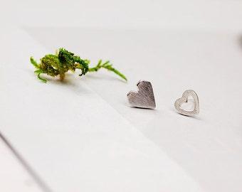 Heart Stud Earrings Set,Sterling Silver Stud Earrings,Heart Stud Silver Earrings,Stud Silver Earrings,8mm Heart,For Women,Anniversary Gift
