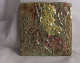Ceramic Art Tile Wildflowers#4 moss green yellow pink
