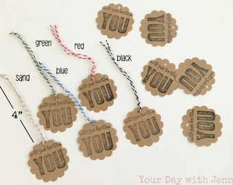 Just for you tags, party favor and gift tags, set of 10, scalloped circle round, twine included